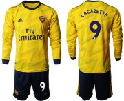 Wholesale Cheap Arsenal #9 Lacazette Away Long Sleeves Soccer Club Jersey