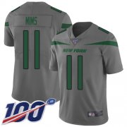 Wholesale Cheap Nike Jets #11 Denzel Mim Gray Youth Stitched NFL Limited Inverted Legend 100th Season Jersey