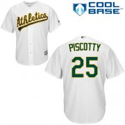 Wholesale Cheap Athletics #25 Stephen Piscotty White Cool Base Stitched Youth MLB Jersey