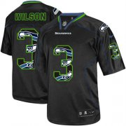 Wholesale Cheap Nike Seahawks #3 Russell Wilson New Lights Out Black Youth Stitched NFL Elite Jersey
