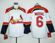 Wholesale Cheap Cardinals #6 Stan Musial White/Red Long Sleeve Stitched MLB Jersey