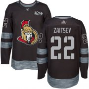 Wholesale Cheap Adidas Senators #22 Nikita Zaitsev Black 1917-2017 100th Anniversary Stitched NHL Jersey