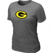 Wholesale Cheap Women's Green Bay Packers Neon Logo Charcoal T-Shirt Dark Grey