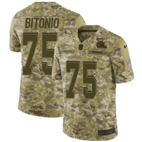 Wholesale Cheap Nike Browns #75 Joel Bitonio Camo Youth Stitched NFL Limited 2018 Salute to Service Jersey