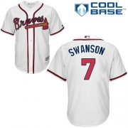 Wholesale Cheap Braves #7 Dansby Swanson White Cool Base Stitched Youth MLB Jersey