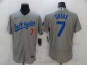 Wholesale Cheap Men's Los Angeles Dodgers #7 Julio Urias Grey Stitched MLB Cool Base Nike Jersey