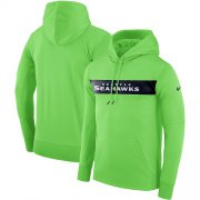 Wholesale Cheap Men's Seattle Seahawks Nike Neon Green Sideline Team Performance Pullover Hoodie