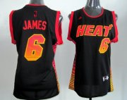 Wholesale Cheap Miami Heat #6 LeBron James Vibe Black Fashion Womens Jersey