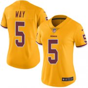 Wholesale Cheap Nike Redskins #5 Tress Way Gold Women's Stitched NFL Limited Rush Jersey