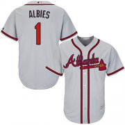 Wholesale Cheap Braves #1 Ozzie Albies Grey Cool Base Stitched Youth MLB Jersey