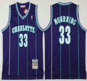 Wholesale Cheap Men's Charlotte Hornets #33 Alonzo Mourning 1992-93 Purple Hardwood Classics Soul Swingman Throwback Jersey