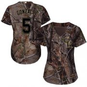 Wholesale Cheap Rockies #5 Carlos Gonzalez Camo Realtree Collection Cool Base Women's Stitched MLB Jersey