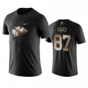 Wholesale Cheap Chiefs #87 Travis Kelce Black NFL Black Golden 100th Season T-Shirts