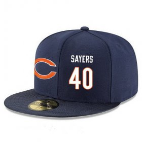 Wholesale Cheap Chicago Bears #40 Gale Sayers Snapback Cap NFL Player Navy Blue with White Number Stitched Hat