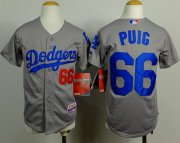 Wholesale Cheap Dodgers #66 Yasiel Puig Grey Cool Base Stitched Youth MLB Jersey