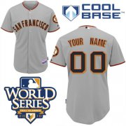 Wholesale Cheap Giants Customized Authentic Grey Cool Base MLB Jersey w/2010 World Series Patch (S-3XL)