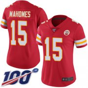Wholesale Cheap Nike Chiefs #15 Patrick Mahomes Red Team Color Women's Stitched NFL 100th Season Vapor Limited Jersey