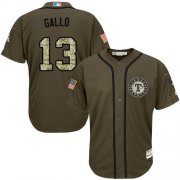 Wholesale Cheap Rangers #13 Joey Gallo Green Salute to Service Stitched Youth MLB Jersey