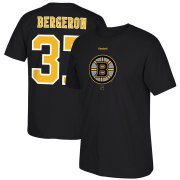 Wholesale Cheap Boston Bruins #37 Patrice Bergeron Reebok Center Ice TNT Reflect Logo Name & Number T-Shirt Black
