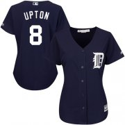 Wholesale Cheap Tigers #8 Justin Upton Navy Blue Alternate Women's Stitched MLB Jersey