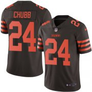 Wholesale Cheap Nike Browns #24 Nick Chubb Brown Youth Stitched NFL Limited Rush Jersey