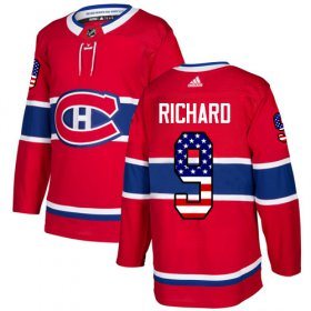 Wholesale Cheap Adidas Canadiens #9 Maurice Richard Red Home Authentic USA Flag Stitched NHL Jersey