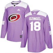 Wholesale Cheap Adidas Hurricanes #18 Ryan Dzingel Purple Authentic Fights Cancer Stitched Youth NHL Jersey