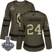 Wholesale Cheap Adidas Golden Knights #24 Oscar Lindberg Green Salute to Service 2018 Stanley Cup Final Women's Stitched NHL Jersey