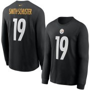 Wholesale Cheap Pittsburgh Steelers #19 JuJu Smith-Schuster Nike Player Name & Number Long Sleeve T-Shirt Black