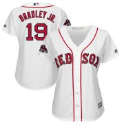 Wholesale Cheap Boston Red Sox #19 Jackie Bradley Jr. Majestic Women's 2018 World Series Champions Team Logo Player Jersey White