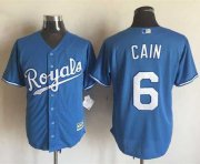 Wholesale Cheap Royals #6 Lorenzo Cain Light Blue Alternate 1 New Cool Base Stitched MLB Jersey