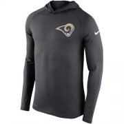 Wholesale Cheap Men's Los Angeles Rams Nike Charcoal Stadium Touch Hooded Performance Long Sleeve T-Shirt