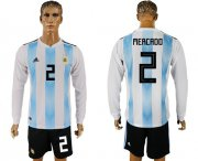 Wholesale Cheap Argentina #2 Mercado Home Long Sleeves Soccer Country Jersey