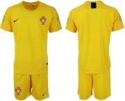 Wholesale Cheap Portugal Blank Yellow Goalkeeper Soccer Country Jersey