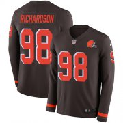 Wholesale Cheap Nike Browns #98 Sheldon Richardson Brown Team Color Men's Stitched NFL Limited Therma Long Sleeve Jersey
