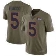 Wholesale Cheap Nike Broncos #5 Joe Flacco Olive Men's Stitched NFL Limited 2017 Salute To Service Jersey