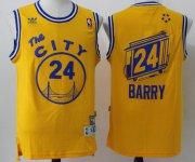 Wholesale Cheap Men's Golden State Warriors #24 Rick Barry Yellow Hardwood Classics Soul Swingman Throwback The City Jersey