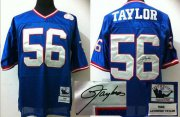 Wholesale Cheap Mitchell And Ness Autographed Giants #56 Lawrence Taylor Blue Stitched Throwback NFL Jersey