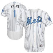 Wholesale Cheap Mets #1 Mookie Wilson White(Blue Strip) Flexbase Authentic Collection Father's Day Stitched MLB Jersey