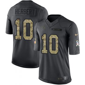 Wholesale Cheap Nike Chargers #10 Justin Herbert Black Youth Stitched NFL Limited 2016 Salute to Service Jersey