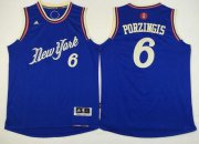 Wholesale Cheap Men's New York Knicks #6 Kristaps Porzingis Revolution 30 Swingman 2015 Christmas Day Blue Jersey