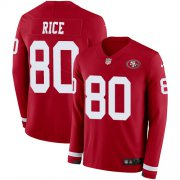 Wholesale Cheap Nike 49ers #80 Jerry Rice Red Team Color Men's Stitched NFL Limited Therma Long Sleeve Jersey