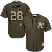 Wholesale Cheap Athletics #28 Matt Olson Green Salute to Service Stitched MLB Jersey