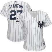 Wholesale Cheap New York Yankees #27 Giancarlo Stanton Majestic Women's 2019 Postseason Official Cool Base Player Jersey White Navy