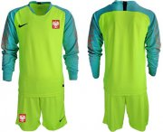 Wholesale Cheap Poland Blank Shiny Green Goalkeeper Long Sleeves Soccer Country Jersey