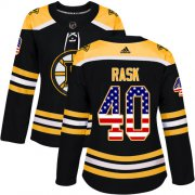 Wholesale Cheap Adidas Bruins #40 Tuukka Rask Black Home Authentic USA Flag Women's Stitched NHL Jersey