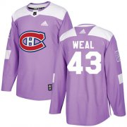 Wholesale Cheap Adidas Canadiens #43 Jordan Weal Purple Authentic Fights Cancer Stitched NHL Jersey