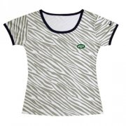 Wholesale Cheap Women's Nike New York Jets Chest Embroidered Logo Zebra Stripes T-Shirt