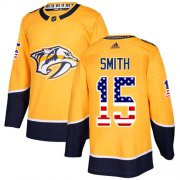 Wholesale Cheap Adidas Predators #15 Craig Smith Yellow Home Authentic USA Flag Stitched NHL Jersey