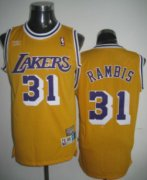Wholesale Cheap Los Angeles Lakers #31 Kurt Rambis Yellow Swingman Throwback Jersey